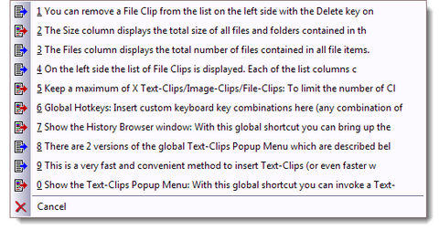 A global shortcut shows the ClipSmartPro popup menu