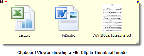 Clipboard Viewer showing a File Clip in Thumbnail mode
