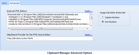 ClipSmartPro History-Browser Advanced Options