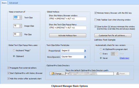 ClipSmartPro History-Browser Basic Options