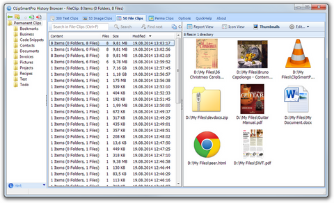 ClipSmartPro History Browser showing a File-Clip