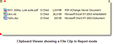 Clipboard Viewer showing a File Clip in Report mode